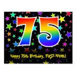 [ Thumbnail: 75th Birthday: Fun Stars Pattern, Rainbow 75, Name Postcard ]