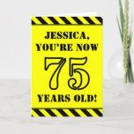 [ Thumbnail: 75th Birthday: Fun Stencil Style Text, Custom Name Card ]