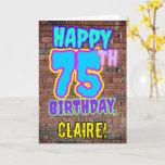 [ Thumbnail: 75th Birthday - Fun, Urban Graffiti Inspired Look Card ]