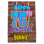 [ Thumbnail: 75th Birthday: Fun, Urban Graffiti Inspired Look Gift Bag ]