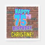 [ Thumbnail: 75th Birthday ~ Fun, Urban Graffiti Inspiron Inspi Napkins ]