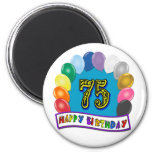 75th Birthday Gifts with Assorted Balloons Design 2 Inch Round Magnet
