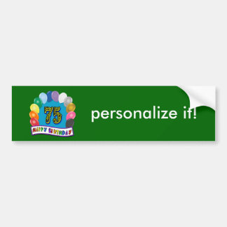 75th Birthday Gifts with Assorted Balloons Design Bumper Sticker