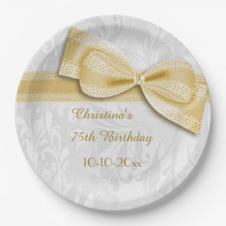 75th Birthday Gold Damask and Faux Bow 9 Inch Paper Plate