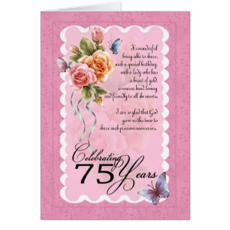 75th birthday greeting card - roses and butterfly