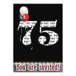 "75th Birthday Invitation 4.5"" X 6.25"" Invitation Card"