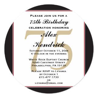 """75th Birthday Invitation 5.25"""" Square Invitation Card"""