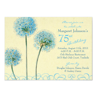 "75th Birthday Invitation | Blue Vintage Floral 4.5"" X 6.25"" Invitation Card"