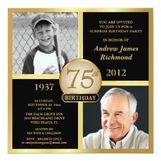 "75th Birthday Invitations Then & Now Photos 5.25"" Square Invitation Card"