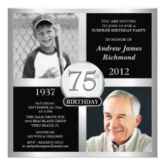 75th Birthday Invitations Then & Now Photos