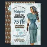 """75th Birthday Invites Vintage Retro Elegant Woman<br><div class=""""desc"""">1.Many items featured here can be used for a variety of occasions other than stated - simply edit the text as required. _______________________________________________________________________  2. If you require assistance,  matching items or would like a custom design contact Designer LeahG via the tab below. _______________________________________________________________________</div>"""