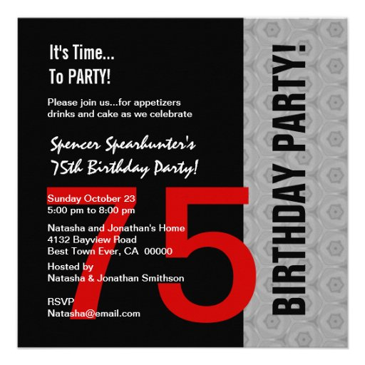 75th Birthday Modern Red Silver Black C846 Personalized Announcements