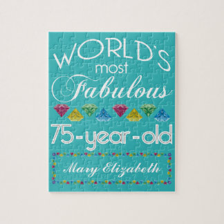 75th Birthday Most Fabulous Colorful Gem Turquoise Jigsaw Puzzle