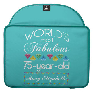 75th Birthday Most Fabulous Colorful Gem Turquoise MacBook Pro Sleeve