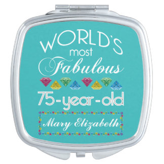 75th Birthday Most Fabulous Colorful Gem Turquoise Mirror For Makeup