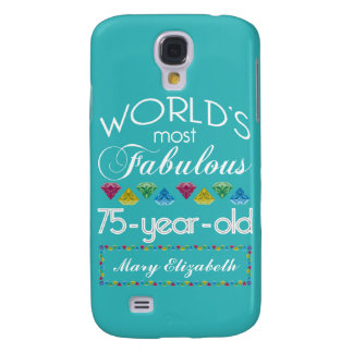 75th Birthday Most Fabulous Colorful Gem Turquoise Samsung S4 Case