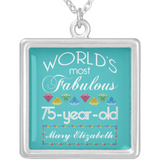 75th Birthday Most Fabulous Colorful Gem Turquoise Silver Plated Necklace