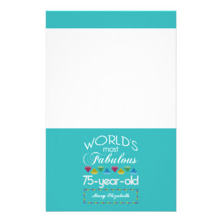 75th Birthday Most Fabulous Colorful Gem Turquoise Stationery