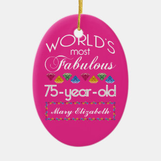 75th Birthday Most Fabulous Colorful Gems Pink Ceramic Ornament
