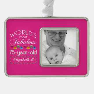 75th Birthday Most Fabulous Colorful Gems Pink Christmas Ornament