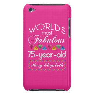 75th Birthday Most Fabulous Colorful Gems Pink iPod Case-Mate Case