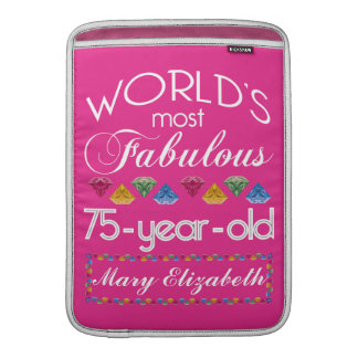 75th Birthday Most Fabulous Colorful Gems Pink MacBook Sleeve