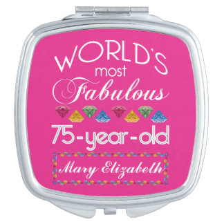 75th Birthday Most Fabulous Colorful Gems Pink Mirror For Makeup