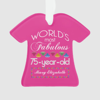 75th Birthday Most Fabulous Colorful Gems Pink Ornament