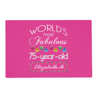 75th Birthday Most Fabulous Colorful Gems Pink Placemat