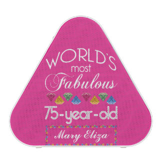 75th Birthday Most Fabulous Colorful Gems Pink Speaker