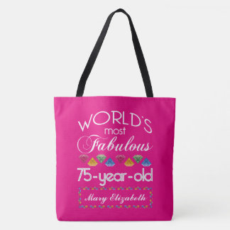 75th Birthday Most Fabulous Colorful Gems Pink Tote Bag