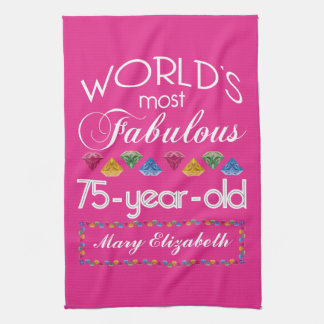 75th Birthday Most Fabulous Colorful Gems Pink Towels