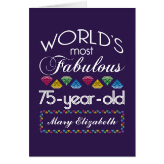 75th Birthday Most Fabulous Colorful Gems Purple Card