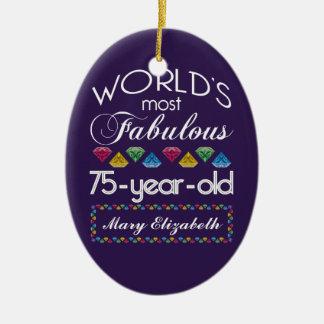 75th Birthday Most Fabulous Colorful Gems Purple Ceramic Ornament