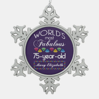 75th Birthday Most Fabulous Colorful Gems Purple Snowflake Pewter Christmas Ornament
