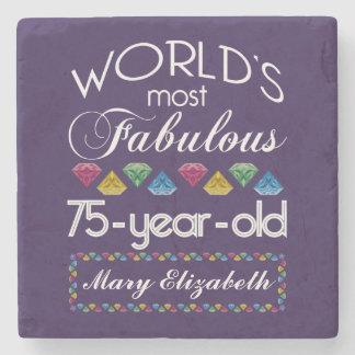75th Birthday Most Fabulous Colorful Gems Purple Stone Coaster