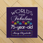 """75th Birthday Most Fabulous Colorful Gems Purple Wine Box<br><div class=""""desc"""">Celebrate the milestone birthday of your favorite senior citizen with this fun gift reminding them of how fabulous they are. White and grey lettering on deep purple background. Colorful diamond-cut gems in rainbow tones serve as accent. Customize with names, initials or other text. This series is in increments of 5...</div>"""