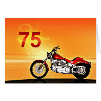 75th birthday Motorcycle sunset Greeting Card