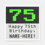 "[ Thumbnail: 75th Birthday - Nerdy / Geeky Style ""75"" & Name Napkins ]"