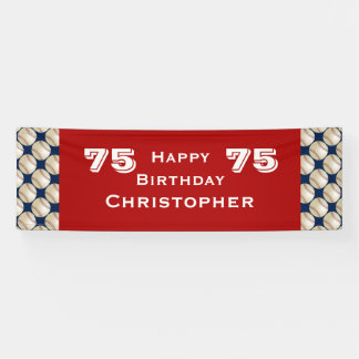 75th Birthday Party Baseball Banner, Adult, Red Banner