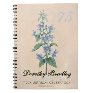 75th Birthday Party - Botanical Custom Guest Book Notebooks