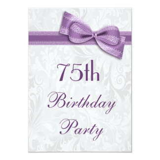 75th Birthday Party Damask and Faux Bow Card