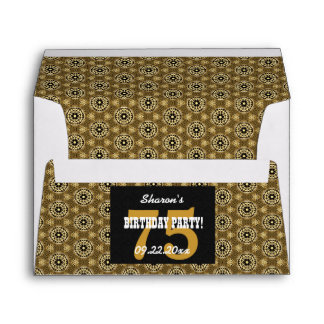 75th BIRTHDAY PARTY For Her Black and Gold Z03 Envelope