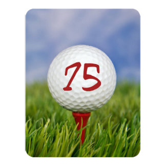 75th Birthday Party Golf theme Card