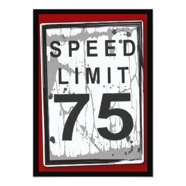 kat_parrella 75th Birthday Party Grungy Speed Limit Sign Card
