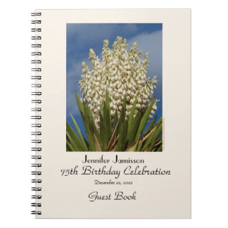 75th Birthday Party Guest Book, Blooming Yucca Notebook