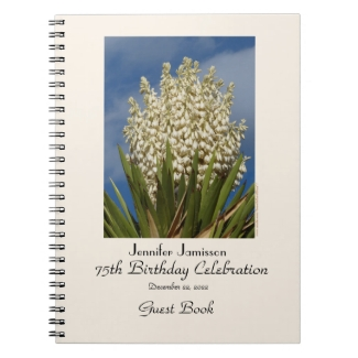 75th Birthday Party Guest Book, Blooming Yucca