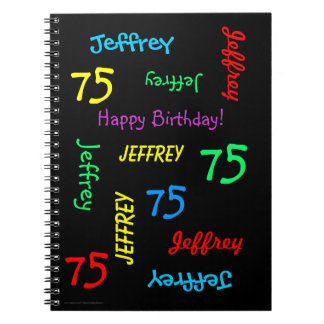 75th Birthday Party Guest Book, Repeat Name Black Spiral Notebook