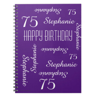 75th Birthday Party Guest Book, Repeating Names Spiral Notebook