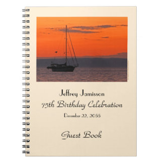75th Birthday Party Guest Book, Sailboat at Sunset Spiral Notebook